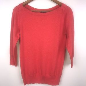 GAP Boatneck Long Sleeve Coral Ribbed Sweater Top